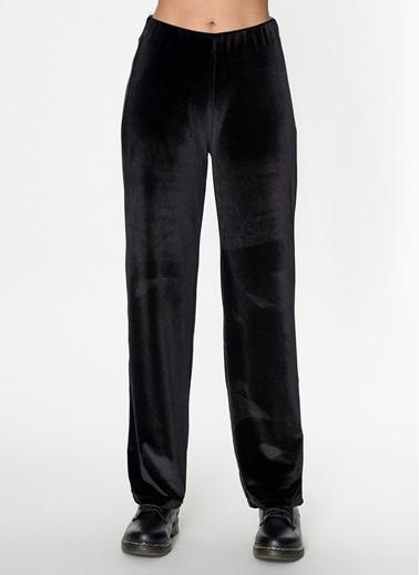 Loves You Bol Paça Kadife Pantolon Siyah